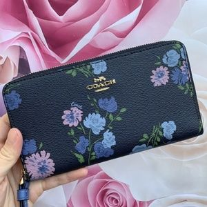 LARGE PHONE WALLET WITH PAINTED PEONY PRINT F73008
